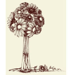 Vase of flowers wedding bouquet sketch retro style vector image vector image