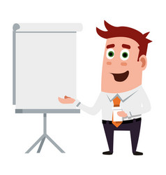 Business flat character is making presentations vector