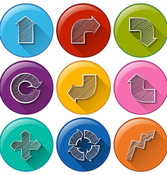 Circle buttons with different arrows vector image vector image