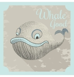 Cool poster with a whale vector image vector image