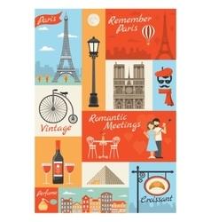 France Paris Vintage Style Icons Set vector image