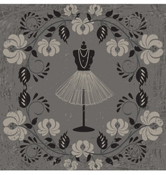mannequin and floral pattern vector image vector image