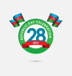 28 year azerbaijan republic day celebration vector