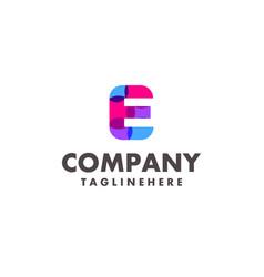 Abstract colorful letter e logo design vector