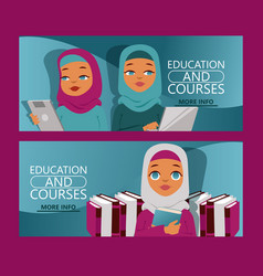 arab woman on distance education set banners vector image
