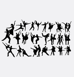 ballerina couple dancer silhouettes vector image