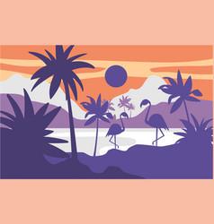 beautiful scene of nature peaceful tropical vector image