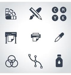 Black polygraphy icon set vector