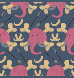 Bones and pink mammoth in a seamless pattern vector