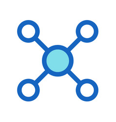 business networking filled line icon blue color vector image