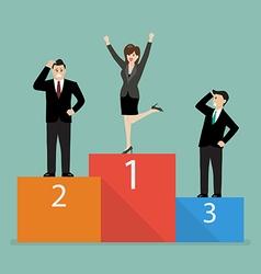 Business woman celebrates on winning podium next vector