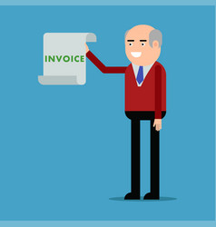 businessman showing an invoice vector image