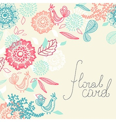 Card with flower and bird vector