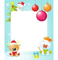 christmas frame with snowman xmas tree ball and vector image
