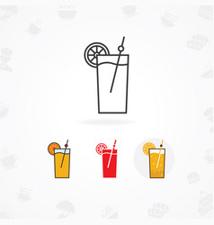 cold drink icon flat of juice vector image