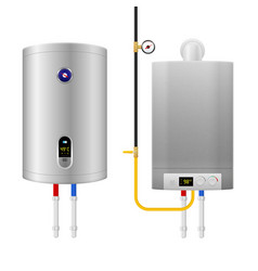 Colored realistic water heater boiler composition vector