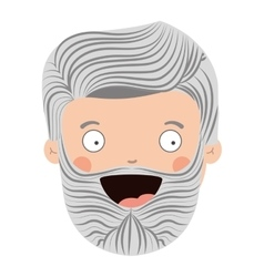 Colorful old man head with beard and smiling face vector