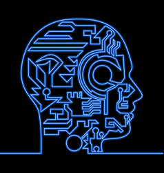 continuous line artificial intelligence neon head vector image