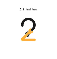 Creative 2- number icon abstract and hands icon vector