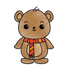 cute bear teddy kawaii character vector image