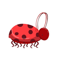 Cute ladybug character with bridle cartoon vector
