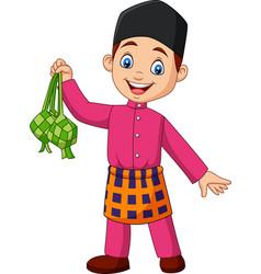 Cute muslim boy holding a ketupat vector