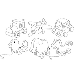 Doodle designs of toys vector