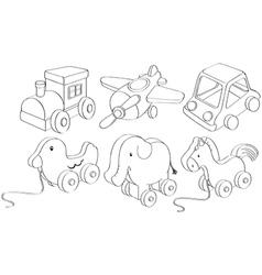 Doodle designs toys vector