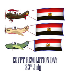 egypt revolution day set with three planes and vector image