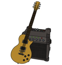 Electric guitar and combo vector