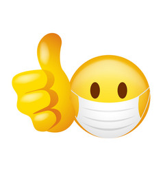 emoticon wearing medical mask doing thumb up vector image