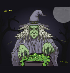 evil cartoon witch with cauldron clip art vector image