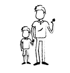 Figure father with his son together and holding vector