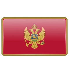 Flags Montenegro in the form of a magnet on vector image