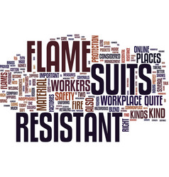 flame resistant suits text background word cloud vector image