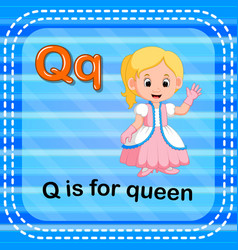 flashcard letter q is for queen vector image