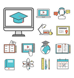 flat design icons online education staff training vector image