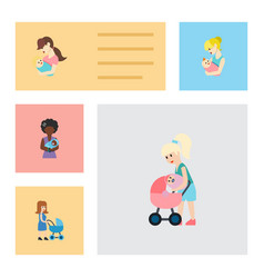 Flat icon mother set of child mam mother and vector