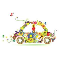 Floral car shape for your design vector
