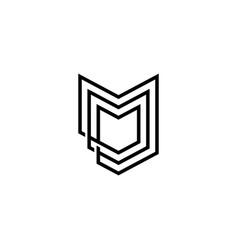 fox head chevron m letter logo icon vector image