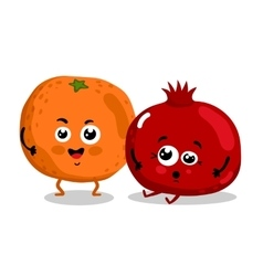 Funny fruit isolated cartoon characters vector image