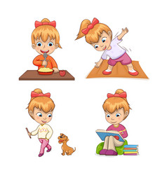 Girl collection of activities vector