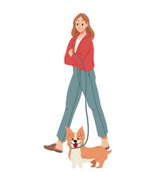 girl walking with dog on a leash welsh corgi vector image