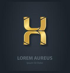 Gold Letter X elegant font Template for golden vector image