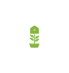 Green plant flower home or house or real estate vector