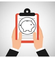 hand holding shop online piggy vector image