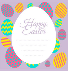 happy easter card template with colorful eggs vector image