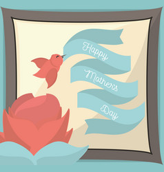 happy mothers day paper card bird flower lovely vector image