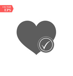 Heart with yes check mark vector