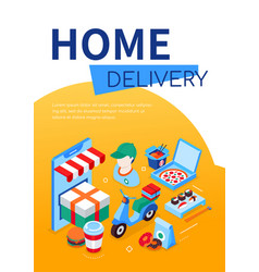 home delivery - modern colorful isometric web vector image